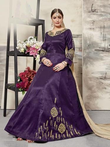 Purple Silk Embroidery Ceremony Wholesale Anarkali Salwar Kameez