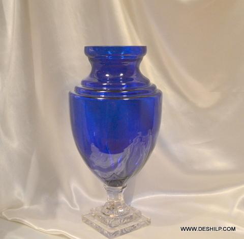 BLUE COLOR CRYSTAL FLOWER VASE