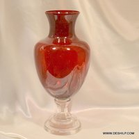 RED COLOR CRYSTAL FLOWER VASE