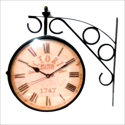 Retro Dual Sided Outdoor Brass Wall Clock