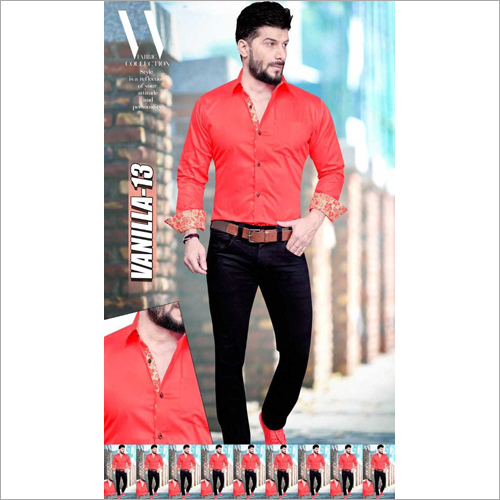 Men's Full Sleeves Plain Shirt Fabric