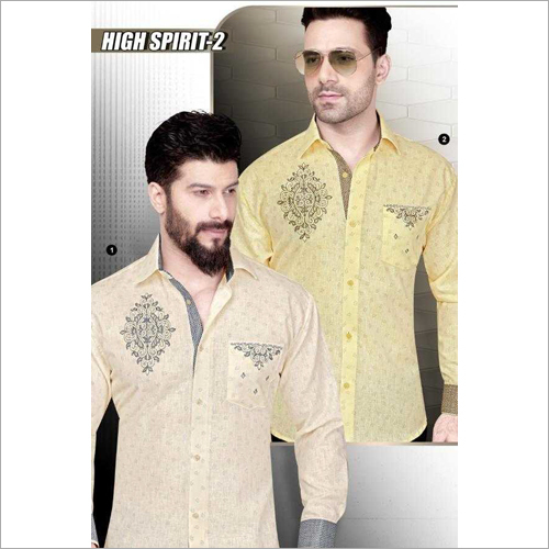 Mens Linen Printed Shirt Fabric