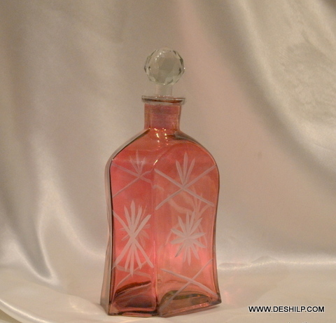 RED GLASS DECOR PERFUME DECANTER