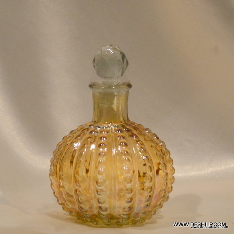 ANTIQUE YELLOW COLOR GLASS PERFUME BOTTLE