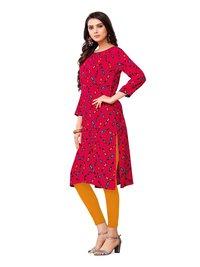 Red Color Printed Rayon Kurti