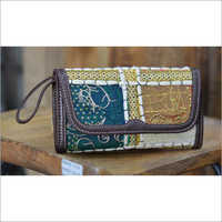 VINTAGE BARMERI FABRIC WALLET WITH LEATHER TRIM