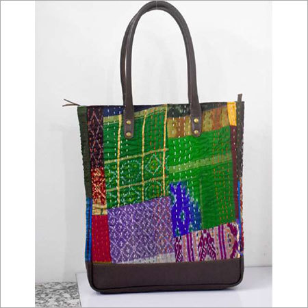 KANTHA HANDMADE FABRIC TOTE BAG WITH LEATHER TRIM