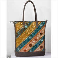 TOTE BAG VINTAGE BARMERI FABRIC WITH LEATHER TRIM