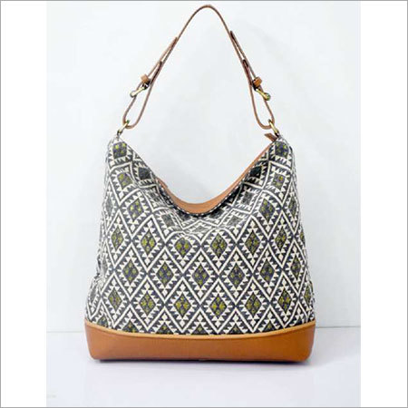 JACQUARD FABRIC HOBO BAG WITH