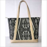 JACQUARD FABRIC TOTE BAG WITH LEATHER TRIM