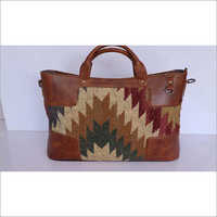 RUG SHOPPER BAG WITH LEATHER TRIM