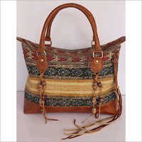 STYLISH RUG HANDBAG WITH LEATHER TRIM