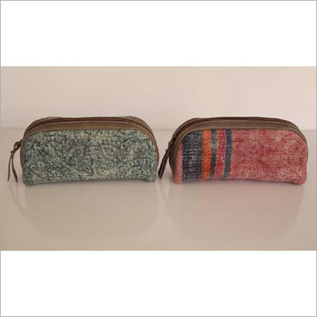 COTTON RUG SMALL POUCH WITH LEATHER TRIM