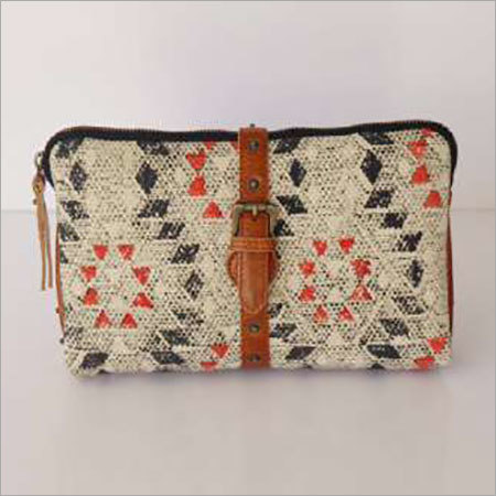 COTTON RUG POUCH WITH LEATHER TRIM
