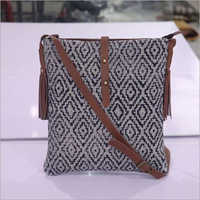 NEW MESSENGER BAG VINTAGE COTTON RUG WITH LEATHER TRIM