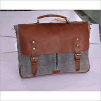 COTTON RUG BRIEFCASE WITH LEATHER TRIM