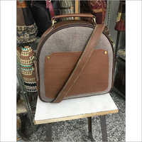 CROSS BODY COTTON RUG BAG WITH LEATHER TRIM