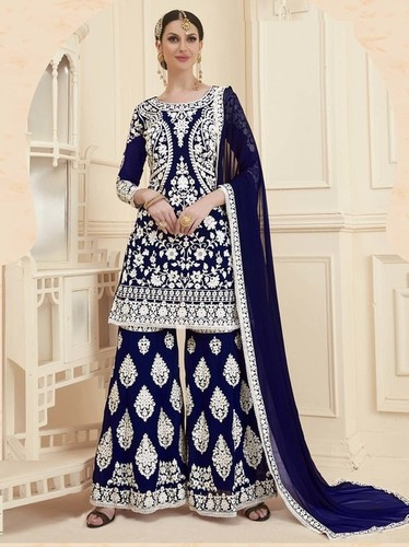Blue Georgette Embroidery Party Wholesale Palazzo Salwar Kameez