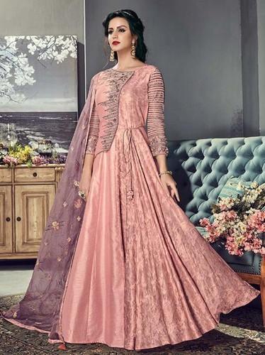 Peach Silk Embroidery Ceremony Wholesale Anarkali Salwar Kameez