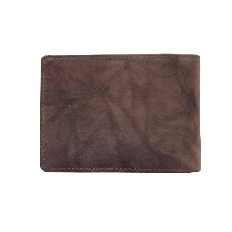 Men Bi-Color Genuine Leather RFID Slim Bifold Wallet