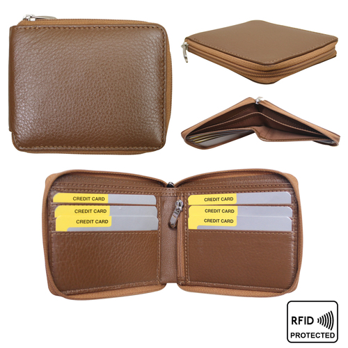 Men Leather Zip Around Wallet