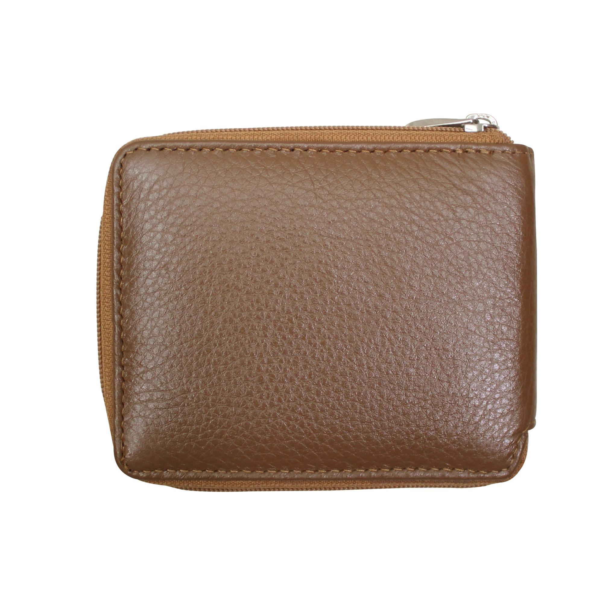 Men Leather Zip Around Wallet