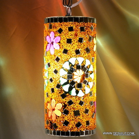 Pipe Lamp Mosaic Finish Glass Wall Hanging