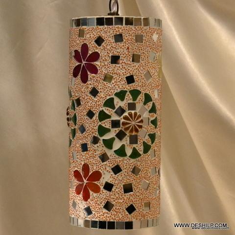 Pipe Lamp Mosaic Finish Glass Wall Hanging