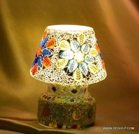 WHITE MOSAIC GLASS TABLE LAMP