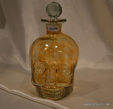 YELLOW COLOR GLASS PERFUME DECANTER