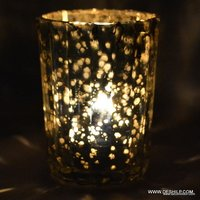 SILVER POLICE GLASS T LIGHT CANDLE VOTIVE