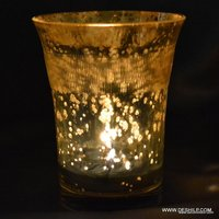 ANTIQUE GLASS SILVER CANDLE HOLDER
