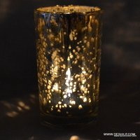SILVER LONG GLASS CANDLE VOTIVE