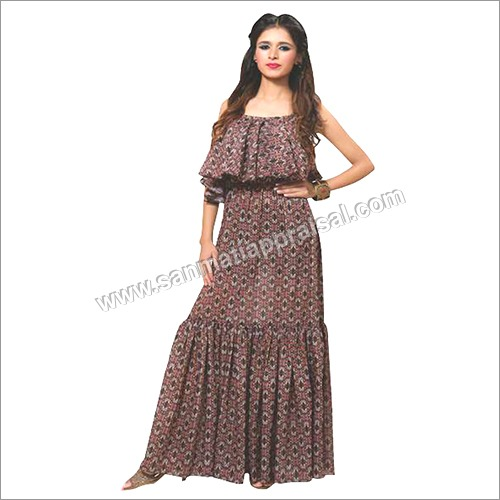Ladies Printed Embroidery Full Dress
