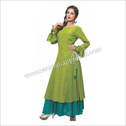 Ladies Green Fabric Cotton Suit