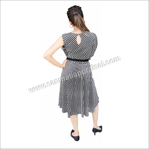 Black Polka Dot Ladies One Piece Dress