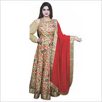Floral Anarkali With Red Dupatta