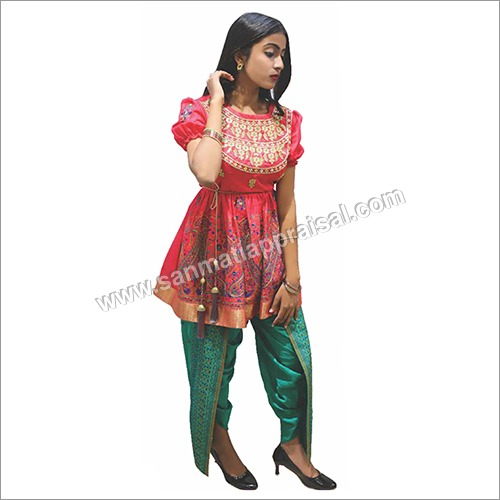 Carrot Frock With Green Dhoti