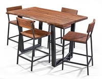 Solid Acacia Live Edge Counter Height Dining Table and Stool Set, Live Edge Dining Table, Dining Set, Dining Chair.