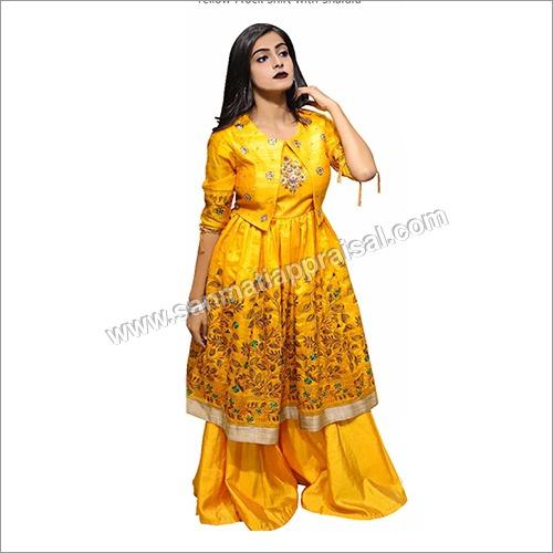 Yellow Frock Shirt With Sharara