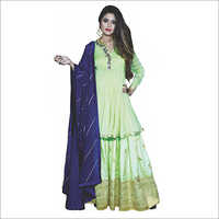 Green Sharara With Blue Dupatta