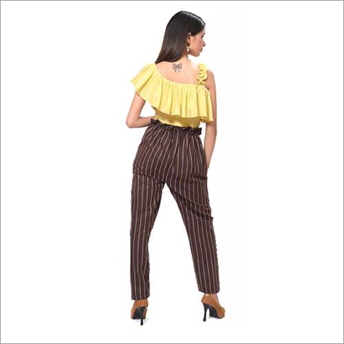 Ladies Yellow Top Stripe Pants