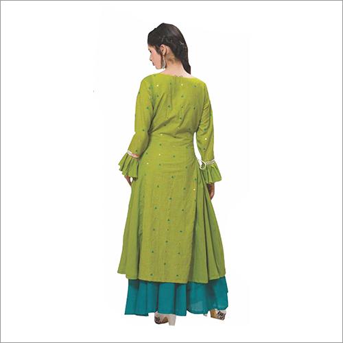 Ladies Green Fabric Cotton Suit