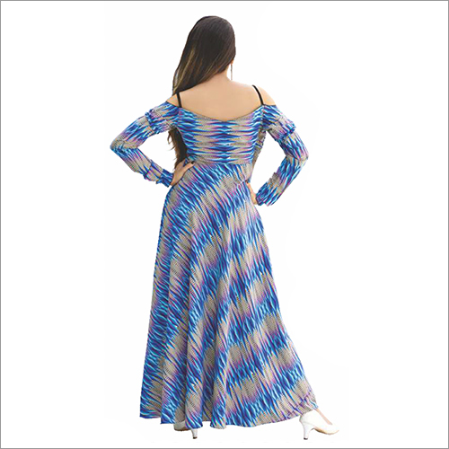 Ladies Zig Zag Blue Flare Dress