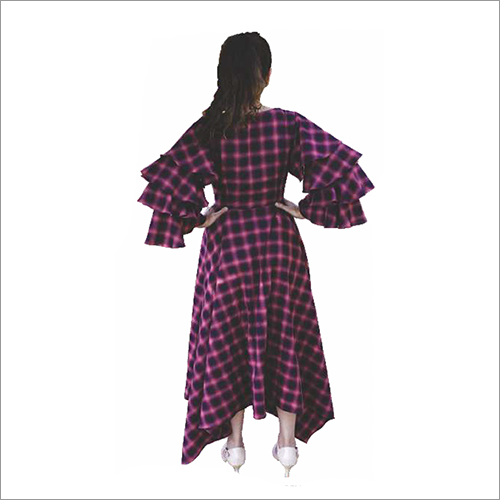 Ladies Check Flare Bell Sleeves