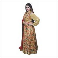 Floral Anarkali With Red Dupatta