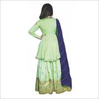 Green Sharara With Blue Dupatta