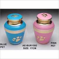 Solid Brass Paw Print Pet Urn.