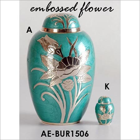 Embossed Flower Brass Cremation Urn