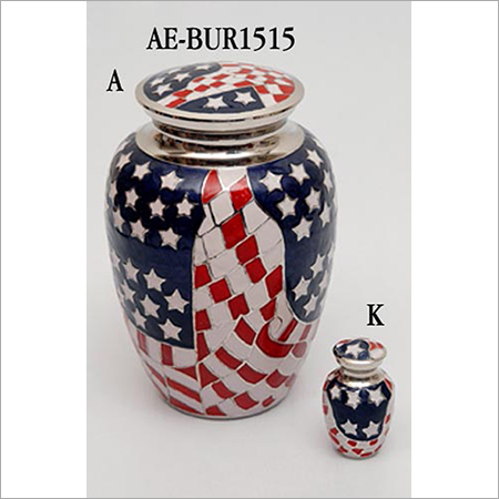 Embossed American Flag Brass Urn